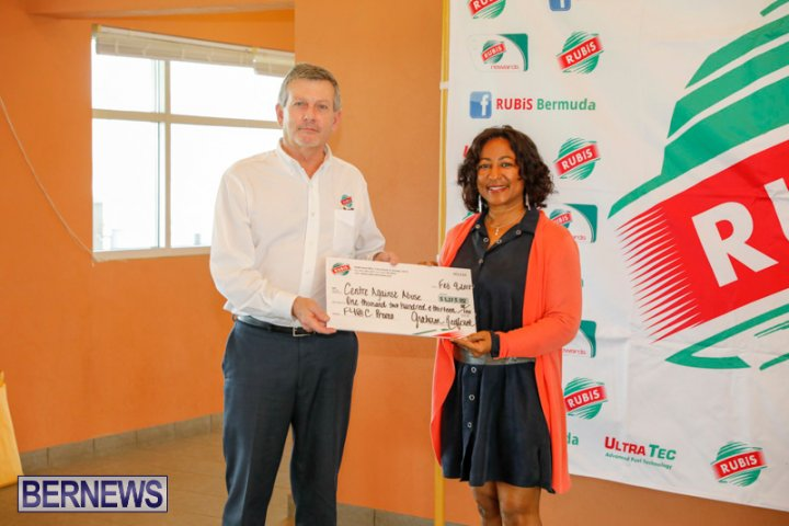 Mr. Graham Redford, Managing Director of RUBiS presenting a cheque to Executive Director of Centre Against Abuse